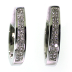 1.00 Carat Diamond and White Gold Hoop Earrings