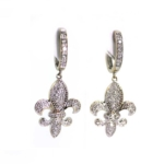 White Gold and Diamond Fleur de Lis Earrings
