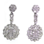 3.81 Carat Diamond and White Gold Earrings