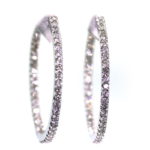 2.70 Carat Diamond and White Gold Earrings