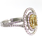 1.66 Carat Cushion Cut Yellow Diamond Ring