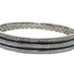 1.90 Carat Diamond and Sapphire White Gold Bracelet