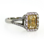 2.14 Carat Emerald Cut Yellow Diamond Ring